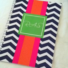 Spiral bound monogrammed notebook! Pink, green, orange and navy striped! Personalized stationary!!