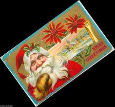 C247 OLD WORLD SANTA PORTRAIT CHURCH BEHIND POINSETTIA  CHRISTMAS 1911 POSTCARD #Christmas