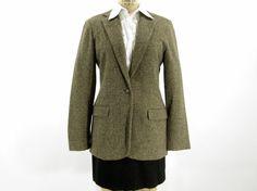 Vintage Tan Wool Blazer - Brown Tweed Menswear Jacket - Women's Size 4 Small, $34.00