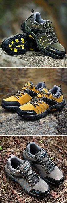 US$40.20#Men's Anti-collision Toe Metal Eyelets Wearable Outdoor Hiking Sneakers