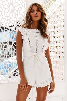 Sexy White Rompers - Women's Sexy White Rompers - - Women's Sexy White Summer Rompers For Summer. This fun style summer romper in a bright white in a short style. Cute Rompers, Rompers Women, Women Swimsuits, Short Jumpsuits For Women, Cute Summer Rompers, White Romper Outfit, White Lace Romper, Cute Summer Outfits, Cute Outfits