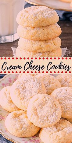 These easy cream cheese cookies are pillowy soft and melt in your mouth. They have a delicate flavor and a sprinkling of powdered sugar on top for a cookie that's not too sweet, but incredibly addictive. from Just So Tasty # Cream Cheese Cookies Brownie Cookies, Chocolate Chip Cookies, Chocolate Cookie Recipes, Cake Mix Cookies, Easy Cookie Recipes, Yummy Cookies, Cookies Et Biscuits, Baking Recipes, Dessert Recipes