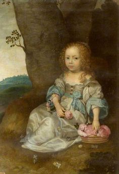 Portrait of an Unknown Young Girl Seated on the Ground with a Basket of Roses by Jan Mytens Oil on canvas, 103 x 70 cm Collection: National Trust