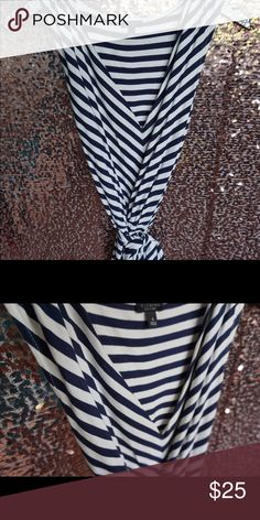 Selling this Navy/cream striped sleeveless blouse on Poshmark! My username is…
