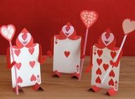 "how cute!  ""Valentine"" decorations using playing cards"