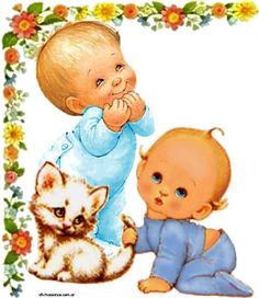 Gabriela Mistral Cute Cartoon Animals, Baby Animals, Baby Pictures, Pretty Pictures, Baby Art, Tole Painting, Doll Patterns, Cute Drawings, Cute Kids