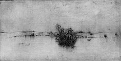 Frans Pannekoek, Mountain landscape near Valls with a bare tree, 1968 (etching)