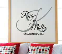 Personalized Family Name Wall Decal  - Bedroom Decor Wall Decals - Wedding Decor. $24.00, via Etsy.