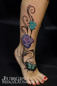 101 Best Rose Tattoo Ideas For Women Guide) - Rose and Butterfly Tattoo – Best Rose Tattoos For Women: Cute Rose Tattoo Ideas and Designs For G - Rose And Butterfly Tattoo, Butterfly Tattoos For Women, Ankle Tattoos For Women, Butterfly Tattoo Meaning, Vine Tattoos, Rosen Tattoos, Mom Tattoos, Body Art Tattoos, Tatoos