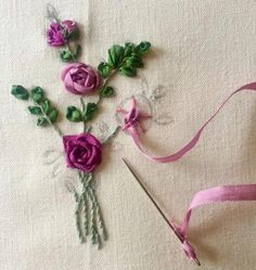 Wonderful Ribbon Embroidery Flowers by Hand Ideas. Enchanting Ribbon Embroidery Flowers by Hand Ideas. Ribbon Embroidery Tutorial, Rose Embroidery, Learn Embroidery, Silk Ribbon Embroidery, Embroidery For Beginners, Embroidery Patterns, Embroidery Stitches, Embroidery Supplies, Embroidery Techniques