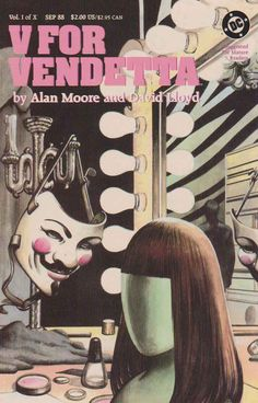 """V for Vendetta is a ten-issue comic book series written by Alan Moore and illustrated mostly by David Lloyd , set in a dystopian future United Kingdom imagined from the 1980s to about the 1990s. A mysterious masked revolutionary who calls himself """"V"""" works to destroy the totalitarian government, profoundly affecting the people he encounters. Warner Bros. released a film adaptation of V for Vendetta in 2005."""