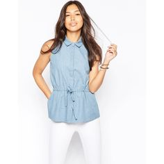 Influence Chambray Shirt With Drawstring Waist (€23) ❤ liked on Polyvore featuring tops, blue, button shirt, blue shirt, shirts & tops, white chambray shirt and regular fit shirt