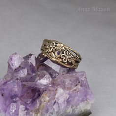 Twigs in purple  lovely ring with cubic zirconia and by drakonaria