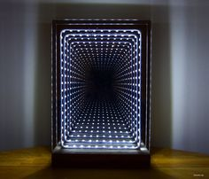 Modern Led Infinity Mirror Table Lamp : 19 Steps (with Pictures) - Instructables Two Way Mirror, Led Mirror, Mirror With Lights, Table Mirror, Mirrors, Infinity Mirror Table, Infinite Mirror, Mirror Illusion, Infinity Lights