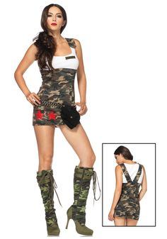 combat cutie costume the combat cutie costume features a camouflage print tank dress with red star and army appliques bullet belt not included - Soldier Girl Halloween Costume