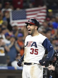 Eric Hosmer Photos Photos - Eric Hosmer #35 of the United States celebrates after hitting a  two-run home run in eighth inning of the World Baseball Classic Pool F Game Two between Venezuela and the United States at PETCO Park on March 15, 2017 in San Diego, California. - World Baseball Classic - Pool F - Game 2 - Venezuela v United States