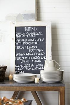 Bluestone Console Table However... love the menu on the table. Would be great food ideas for a summer party!