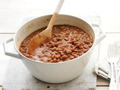 Bacon Pinto Beans recipe from Food Network Kitchen via Food Network Bacon And Beans Recipe, Food Network Recipes, Cooking Recipes, Cooking Tips, Great Recipes, Favorite Recipes, Family Recipes, Summer Recipes, Pork N Beans