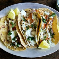 Skillet-Grilled Fish Tacos with Cilantro-Lime Crema  recipe on Food52