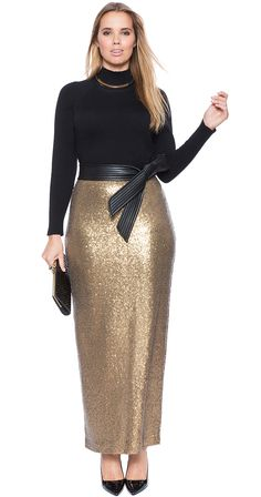 Plus Size Sequin Maxi Skirt