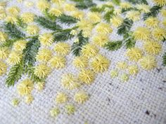 Embroidered mimosa! (Women's day flower)