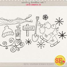 Wintry Doodles Vol 1 {CU} #sugaryfancy #winter #doodles