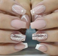 Pink Glitter Nails With Geometric Design