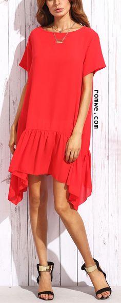 Red Ruffle Short Sleeve Asymmetrical Shift Dress