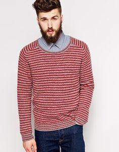 €88, Roter horizontal gestreifter Pullover mit Rundhalsausschnitt von Peter Werth. Online-Shop: Asos. Klicken Sie hier für mehr Informationen: https://lookastic.com/men/shop_items/130385/redirect