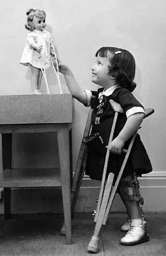 Marybel - The Doll That Gets Well.  1959 came with her very own medical supplies.  Crutches, bandages, casts etc.
