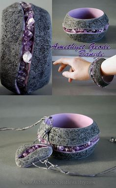 This is a beautiful hand made set with real amethyst crystals made into each piece. It is crafted from polymer clay to look like an amethyst...
