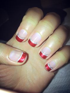 Christmas french tips    christmas nail art french red tips with glitter   Yummy Recipes to Tr ...