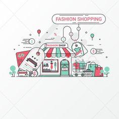 Flat line fashion shopping. - Fashion - #10 | Free vector image sets