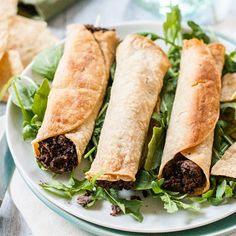 Slow-Cooked Black Beans and Poblano Pepper Baked Taquitos (Vegan & Gluten-Free) Mexican Food Recipes, Vegan Recipes, Cooking Recipes, Savoury Recipes, Mexican Dishes, Vegan Meals, Healthy Meals, Crockpot Recipes, Free Recipes