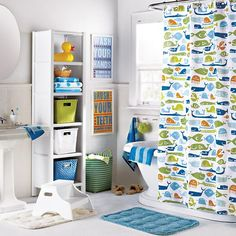 Elegant Light Blue Paint Wall Attached With Hand Towel Combine With Sea Theme  Shower Curtain Or Fish Mat | Bathroom | Pinterest | Kid, Kids Bathroom Sets  And Hand ...