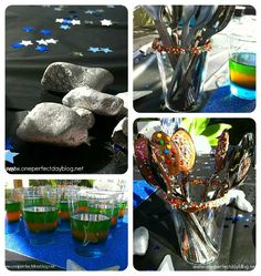 Simple space themed decoration idea... paint rocks with metallic paint for moon rocks. - - Southern Outdoor Cinema expert tip for theming and enhancing an outdoor movie event.