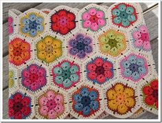 African flowers from yarn leftovers