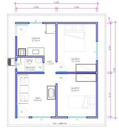 Planta de casas pequenas 2 quartos Sala grande