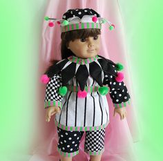 Jester Costume for 18 inch Doll - Harlequin Costume for American Girl Doll Black and White Costume