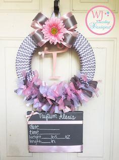 Baby Girl Wreath. Baby Hospital Door Wreath. Birth announcement. Baby hospital…