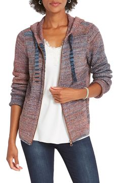 Free shipping and returns on NIC+ZOE Autumn Sky Hooded Cardigan at Nordstrom.com. <p>A colorful knit brings texture and contrast to a zip-front cardigan topped with a drawstring hood.</p>