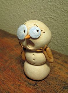 Christmas CREEPY Snowman Surprised expression original art by Janell Berryman Pumpkinseeds by JanellBerryman on Etsy