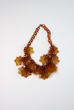 Vintage Bakelite leaves necklace