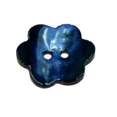Bouton fleur Nacre 18mm Bleu marine