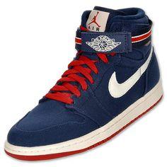 Air Jordan Retro 1 High Strap Men's Basketball Shoes | FinishLine.com | Midnight Navy/Varsity Red/Sail