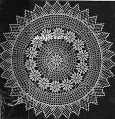 Discover recipes, home ideas, style inspiration and other ideas to try. Vintage Crochet Doily Pattern, Free Crochet Doily Patterns, Crochet Dollies, Tatting Patterns, Crochet Patterns Amigurumi, Crochet Motif, Crochet Flowers, Thread Crochet, Filet Crochet