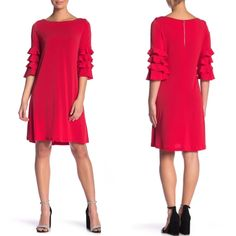 Gabby Skye Tiered Ruffle Sleeve Red Shift Dress