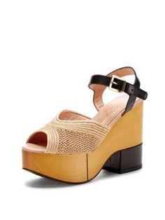Robert-Clergerie-Tan-Wooden-Platform-Shoes-w-Raffia-Sz-7-NEW-IN-BOX-Retail-695