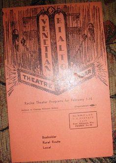 Cover, combined VENETIAN and RIALTO Theatres program, 1951