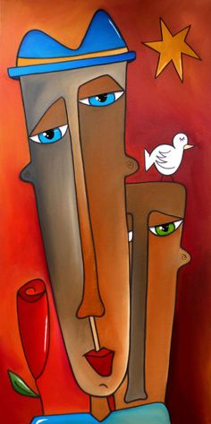 DARE TO BELIEVE - Original Abstract Modern Faces Pop Art Painting by Fidostudio #Expressionism
